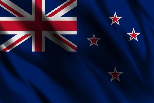 Шелковый фон с флагом новой зеландии
