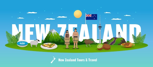 New zealand illustration