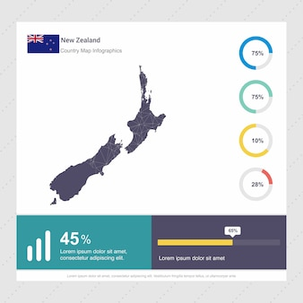 New zealand map & flag infographics template