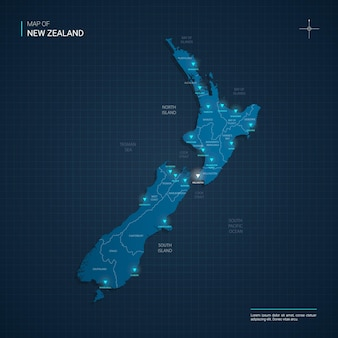 New zealand map with blue neon light points
