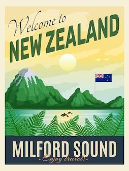 ヴィンテージスタイルのイラストでニュージーランドのポスター