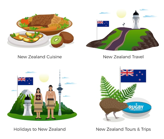 New zealand tourism concept icons set with cuisine and sports symbols flat isolated  illustration