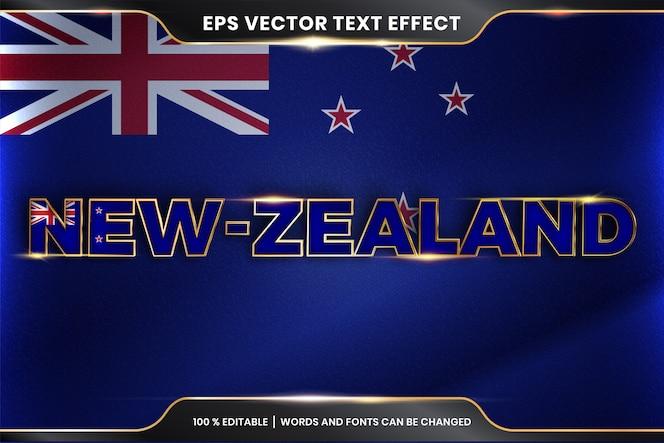 Nuova zelanda con la sua bandiera nazionale del paese, stile di effetto testo modificabile con concetto di colore oro