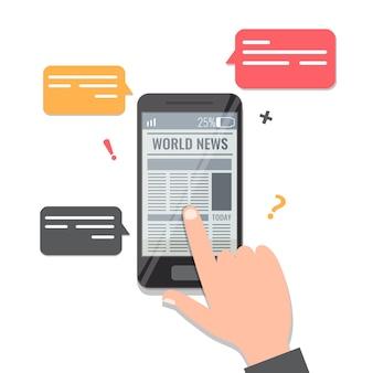 新聞オンライン読書コンセプト。男の手がスマートフォンのnewaアプリでニュースをめくります。