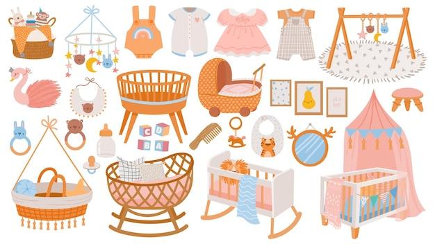 Аксессуары для новорожденных. элементы интерьера, мебель и декор детской комнаты. колыбели, игрушки и детское платье и одежда в векторном стиле бохо