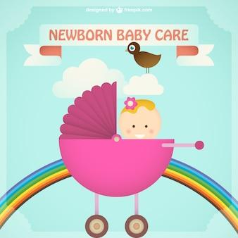 핑크 유모차에 갓난 아기 소녀