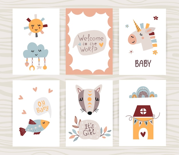 Newborn baby girl poster collection.