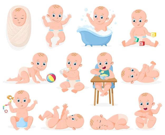 새로 태어난 아기. 유아 귀여운 소년 또는 소녀 아기, 유아 아기 목욕, 자고 활동 벡터 일러스트레이션 세트. 유아 신생아. 욕조에 있는 아이, 신생아 및 수유 자