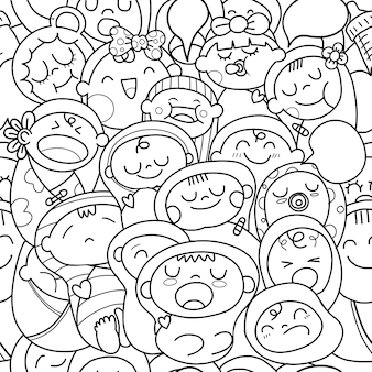 Newborn baby seamless pattern.