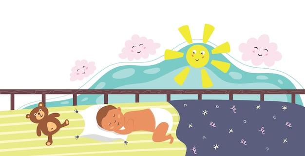 아기 침대에서 자고 있는 갓난 아기. 아이의 점심시간 잠. 벡터 평면 그림
