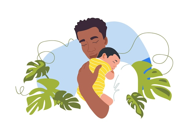 Newborn baby with the father african families fathers day postcard template