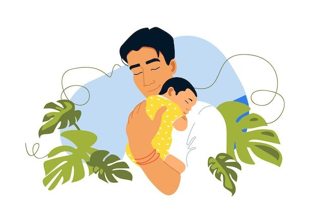 아버지와 함께 신생아 아시아 가족 아버지의 날 엽서 템플릿