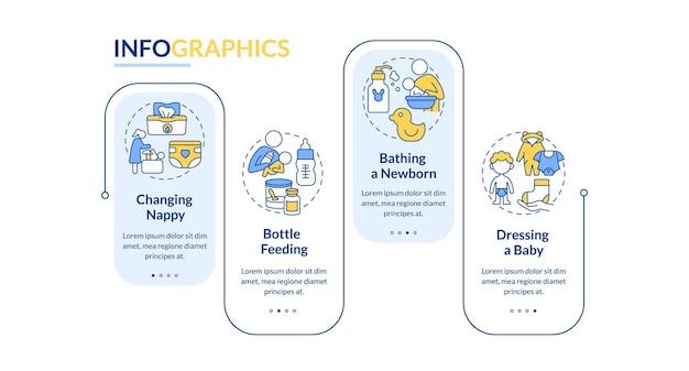 신생아 케어 벡터 infographic 템플릿입니다. 아기 프레젠테이션 개요 디자인 요소를 돌보는 어머니. 4단계로 데이터 시각화. 타임라인 정보 차트를 처리합니다. 라인 아이콘이 있는 워크플로 레이아웃