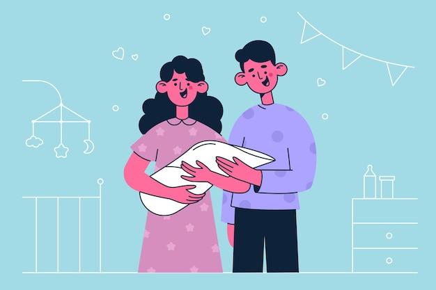 生まれたばかりの子供と幸せな家族のイラスト