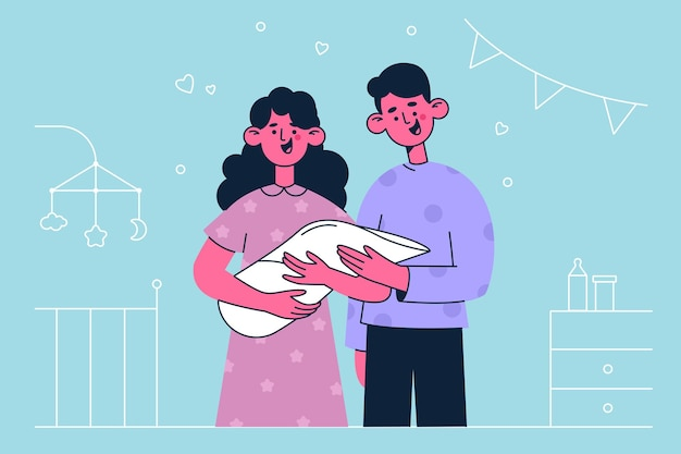 Newborn child and happy family illustration