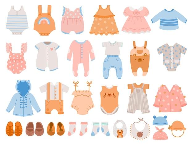 신생아 옷. 소년 소녀를 위한 아기 의류, 드레스, 점프수트, 바디 슈트, 장난 꾸러기, 티셔츠 및 바지. 만화 아이 wearvector 집합입니다. 소년과 소녀를 위한 그림 신생아 바지와 의류