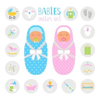 Новорожденные цветные значки. мальчик и девочка с игрушками и бутылкой, предметами гигиены и красочной коллекцией манежа