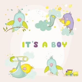 Набор милых попугаев для новорожденных для детского душа или открыток для новорожденных в