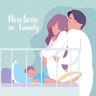 Newborn in family with parents and baby boy sleeping in crib