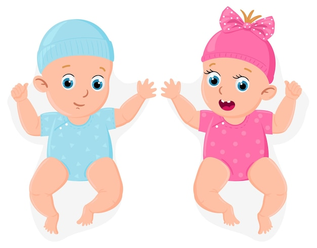 신생아 소녀와 소년입니다. 귀여운 작은 남성과 여성 아기, 파란색 또는 분홍색 베이비 샤워 기호 격리 벡터 일러스트 레이 션. 작은 아기 소년과 소녀. 아이 딸과 아들, 기저귀 작은 소년과 소녀