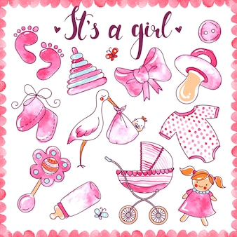 Newborn girl hand drawn elements set