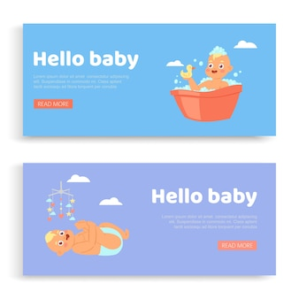 Newborn, lettering on set s hello baby, invitation , cute infant, greeting card for son,   illustration. birthday greeting, happy celebration, childhood, card with cute child.