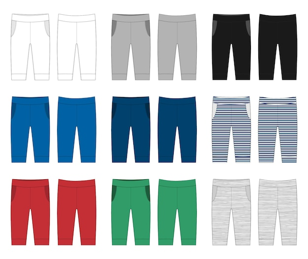 Newborn pants flat illustration. trousers sketch baby clothes. vector illustration of a kids fashion. back side view of pants. white, gray, black, blue, yellow, red, green colors pants.