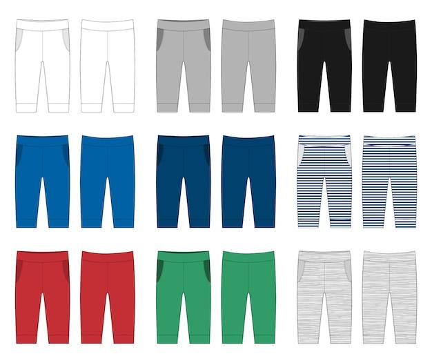 新生児パンツフラットイラスト。ズボンはベビー服をスケッチします。子供のファッションのベクトルイラスト。パンツの裏側。白、グレー、黒、青、黄、赤、緑の色のパンツ。