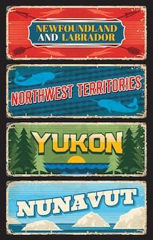 Newfoundland and labrador province, northwest, yukon and nunavut territories of canada plates
