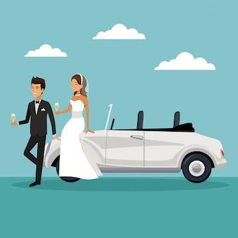 新しく夫婦で車に座ってシャンパンを飲む