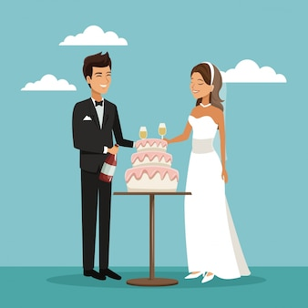 Newly married couple scene of cake and champagne toast