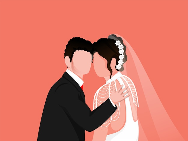 Newly wed couple illustration