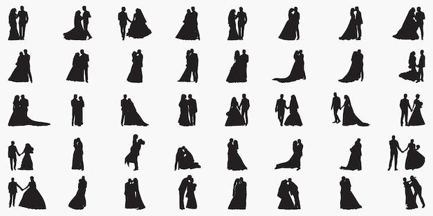 新たに結婚式のカップルのシルエットイラスト