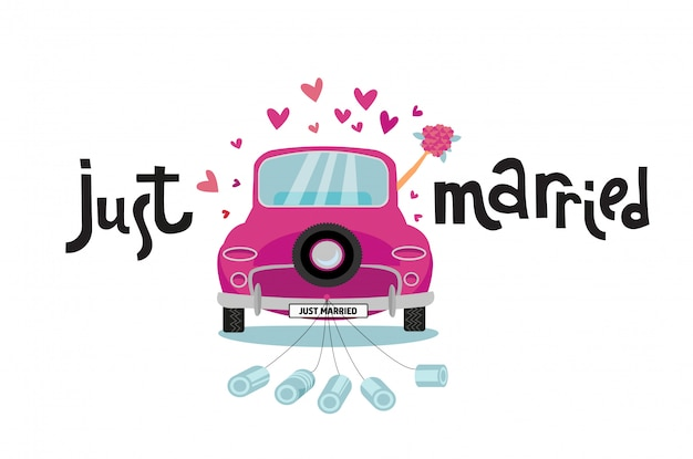 Newlywed couple is driving vintage pink car for their honeymoon with just married lettering sign and cans attached