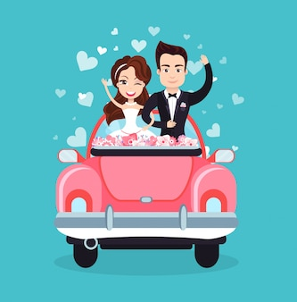 Newlywed couple riding car waving hands