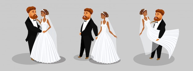 Newlywed couple vector illustrations collection.