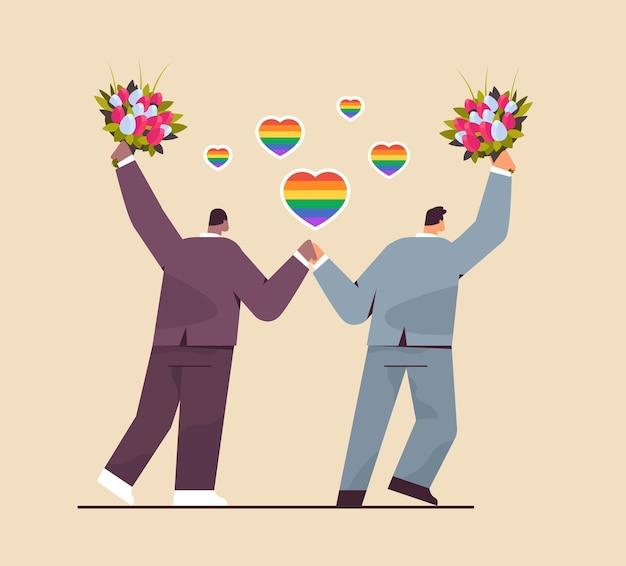 꽃과 함께 서 있는 신혼 게이 커플 트랜스젠더 사랑 lgbt 커뮤니티 결혼식 축하