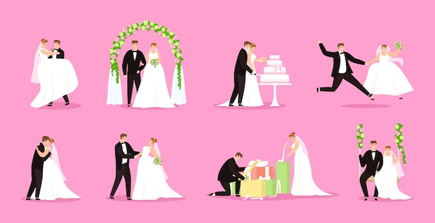 Newlywed, just married couple, bride and groom illustration wedding, marriage set.