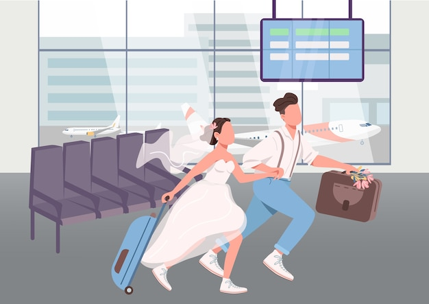 Newlyweds in airport terminal flat color illustration