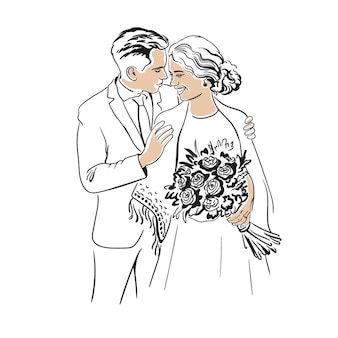 花束で抱き締める新婚の花嫁と花婿