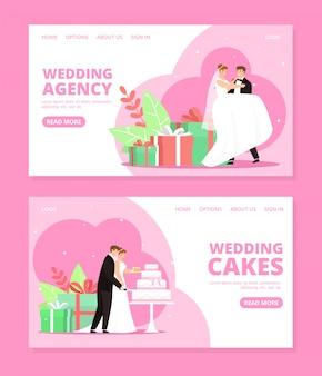 Newlyweds couple  illustrations set for wedding agency.