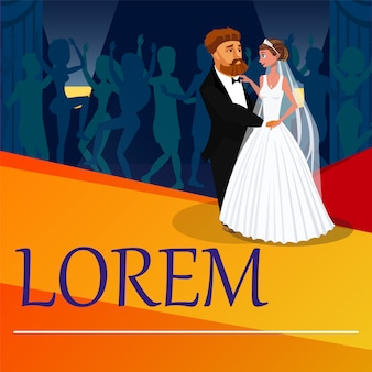 Newlyweds first dance vector banner with lettering