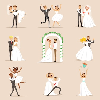 Молодожены позируют и танцуют на свадебной вечеринке