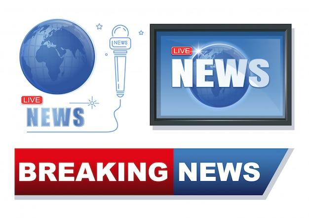 ニュースとジャーナリズムのバナーセット。速報ニュース概念ロゴデザインコレクション。最新のニュースラベル。図