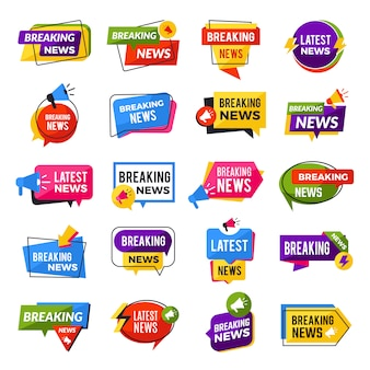 News announce. advertising breaking special offers geometric reports badges templates