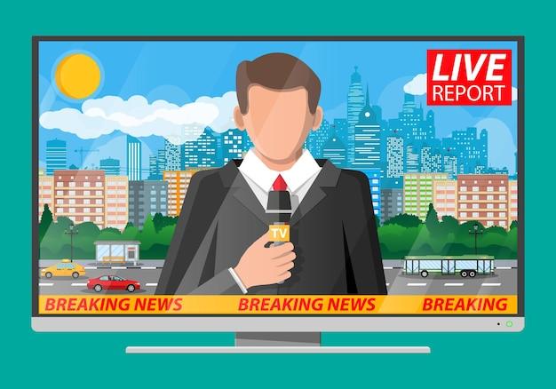 Диктор новостей в студии. городской пейзаж со зданиями, облаками, небом, солнцем. журналистика, репортаж, последние горячие новости, телевидение и радио бросает понятие. векторная иллюстрация в плоском стиле