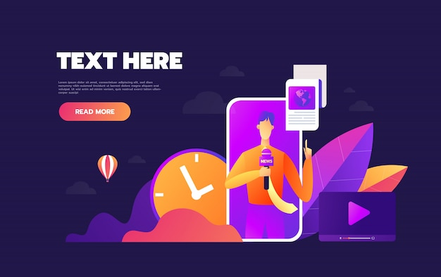 News app. modern flat  graphic elements for web banner, landing page template, website.  illustration.