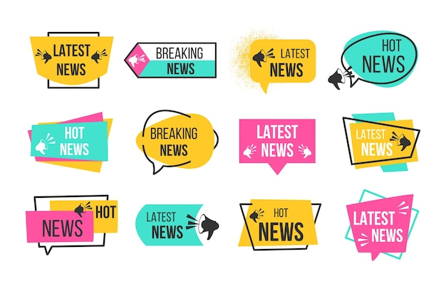 News badges. newspaper and magazine braking latest and hot news stickers.