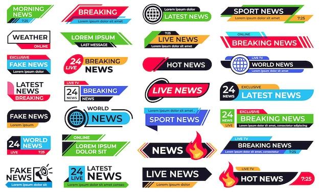 뉴스 배너. 속보 헤더, 24 라이브 뉴스 및 스포츠 바 배너 템플릿 벡터 세트. tv 뉴스 캐스트 쇼, 인터넷 미디어, 온라인 방송을위한 하단 1/3 또는 그래픽 오버레이 모음.