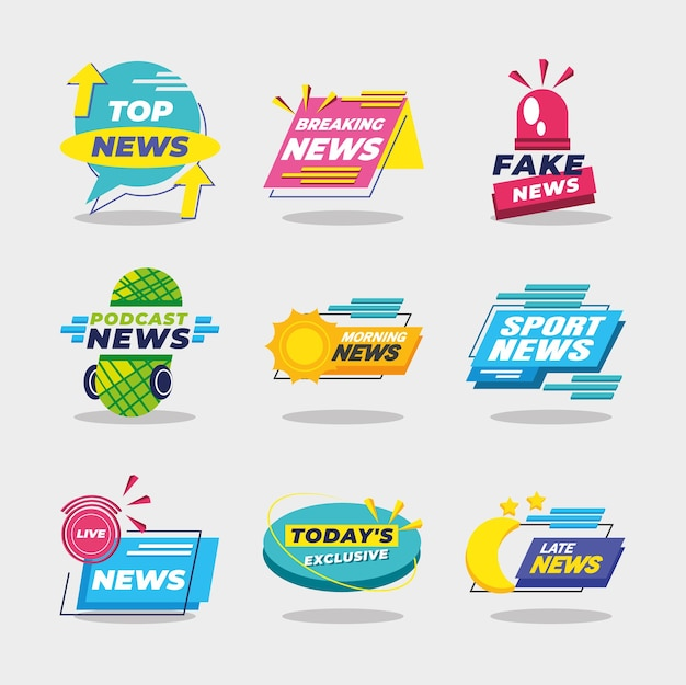 News banners and labels icon set design, technology channel communication and tv theme  illustration